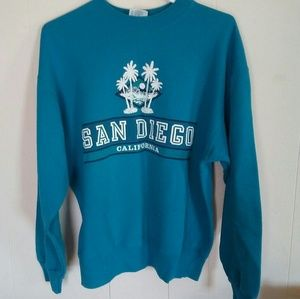San Diego Palm Trees Sweatshirt Hanes Active Sz L